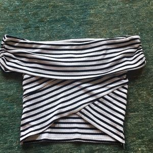 Mango Black and White Striped Crop Top XS